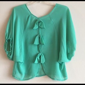 Tops - Teal Blouse, bows in back. Size M